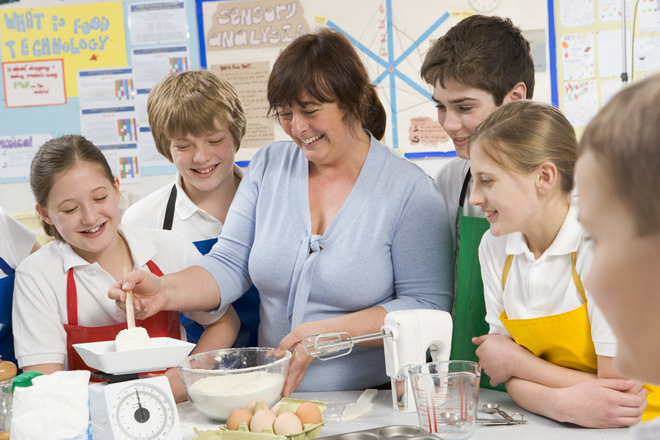 Teacher and students in the kitchen