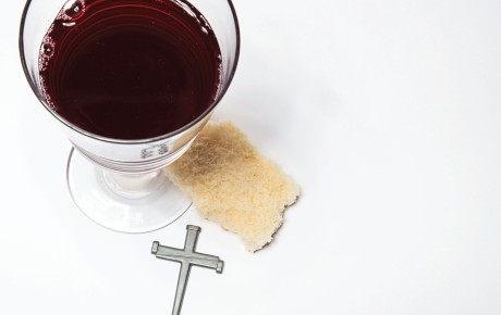 Bread and wine for communion. Cross of nails.