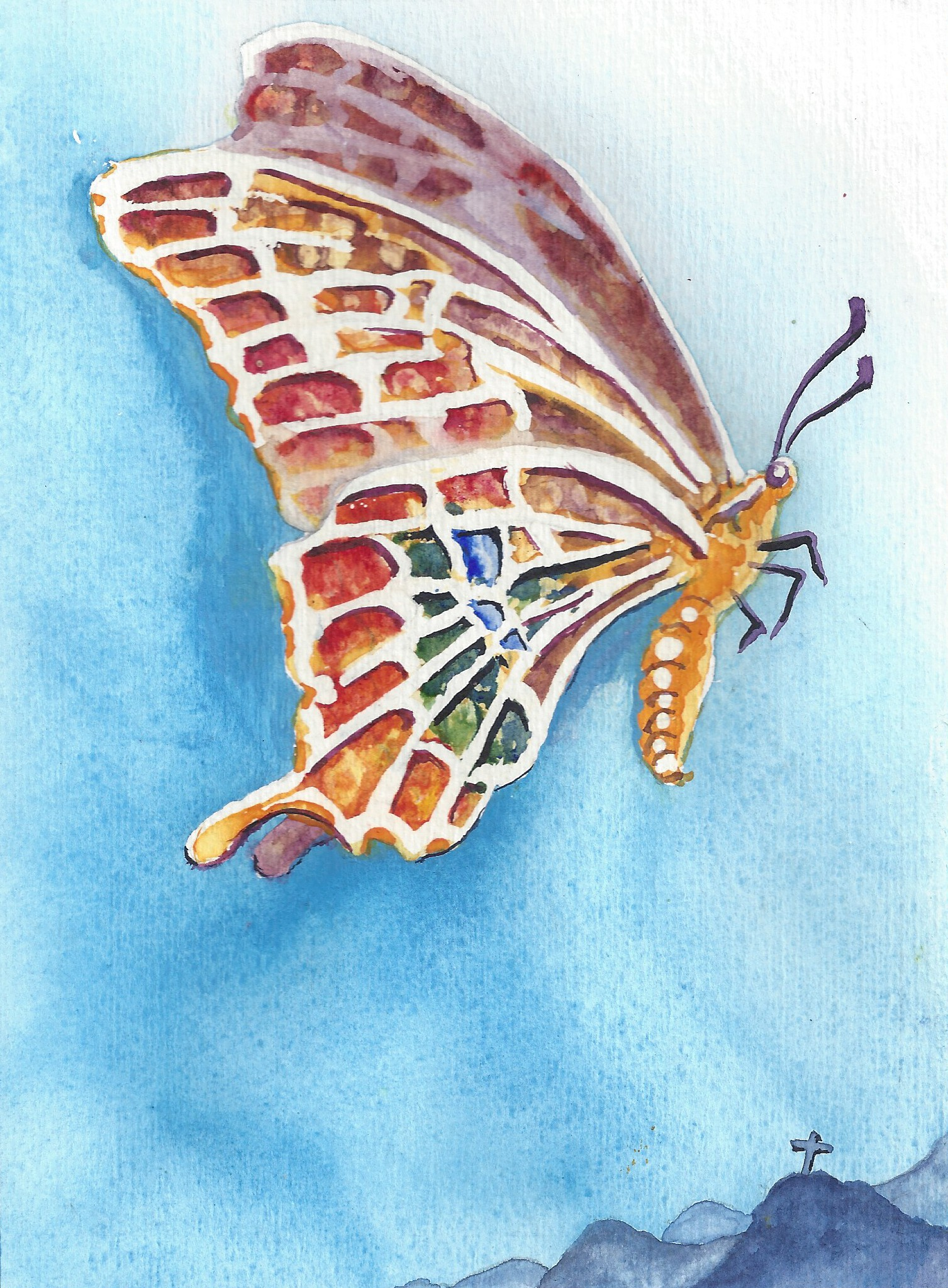 The butterfly: symbol of the resurrection.